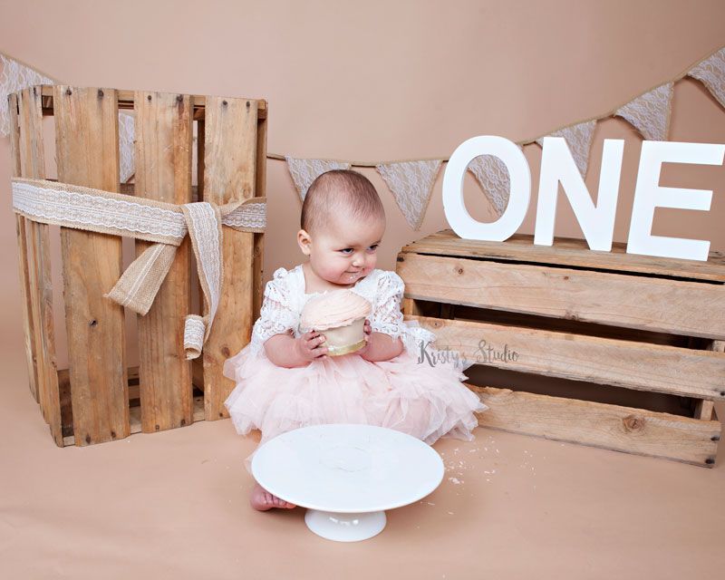 Cake-Smash-girl-brown-rustic-wooden2 Baby Photography Sydney