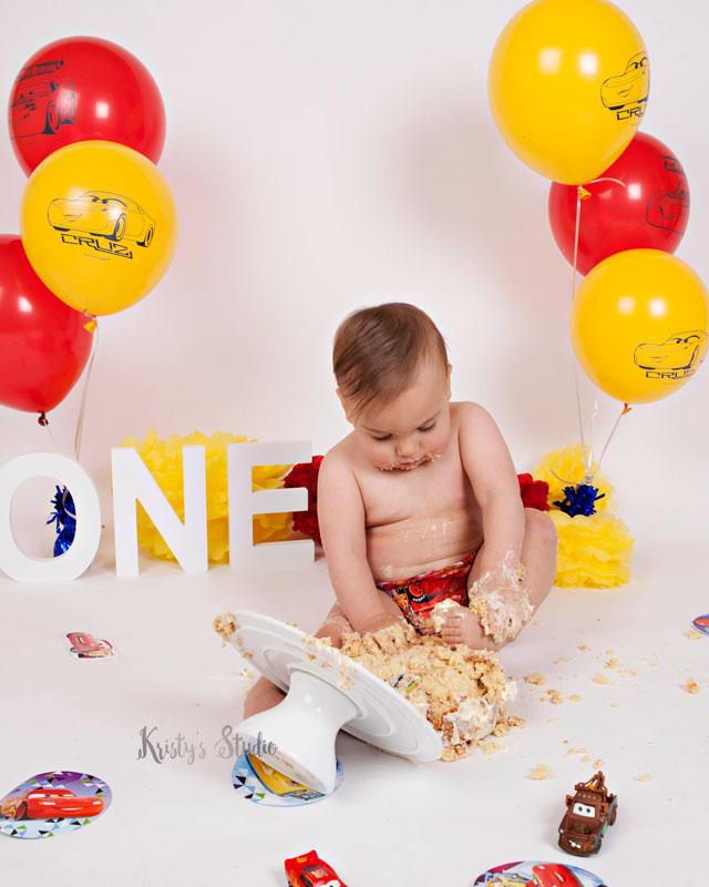 cake-smash-boy-cars-theme-disney-pixar Baby Photography Sydney