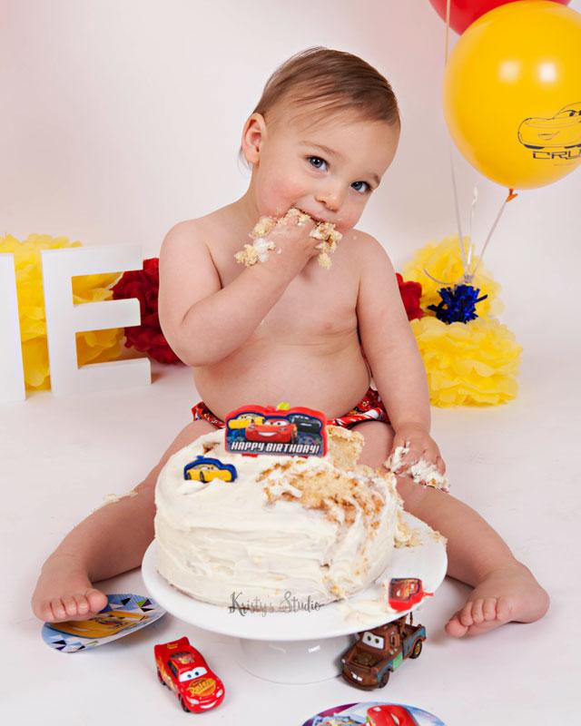 cake-smash-boy-cars-theme-disney-pixar3 Baby Photography Sydney