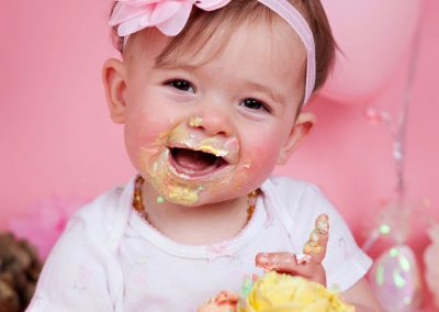 cake-smash-girl-pink-flowers Baby Photography Sydney