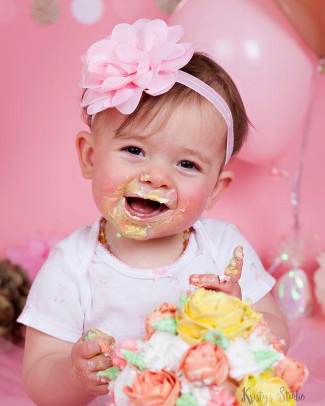 cake-smash-girl-pink-flowers Baby Photography Sydney