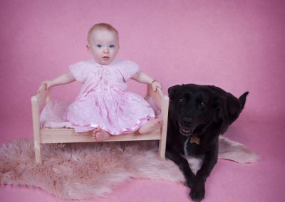sitter-girl-and-her-dog-pink Baby Photography Sydney