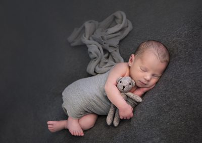 newborn baby boy greys with bear